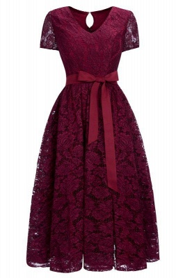 Chicloth Burgundy Short Sleeves Flower Lace V-neck Dresses with Sash_1