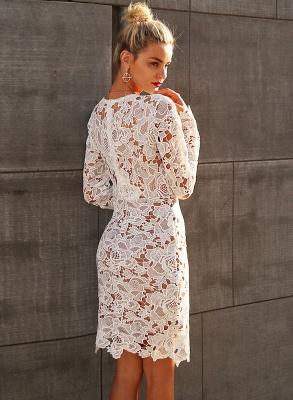 A| Chicloth Fashion V Neck Long Sleeve Lace Bodycon Midi Dress_3