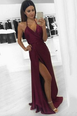 Chicloth Burgundy Halter-V-Neck Backless A-line Side-Slit Prom Dresses_1