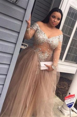 Chicloth Plus-Size Stunning Long-Sleeve Tulle Split Crystal Prom Dress_1