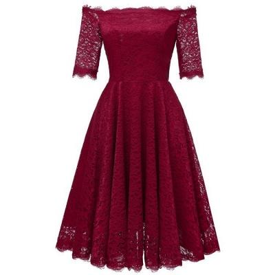 A| Chicloth White A-line Knee-length Lace Dress_5