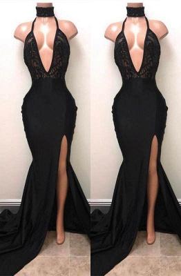 A| Chicloth Sexy Black Mermaid Prom Dress | 2019 V-Neck Evening Dress With Slit_1