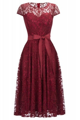 Chicloth Burgundy Lace Short Sleeves A-line Dresses with Bow_1