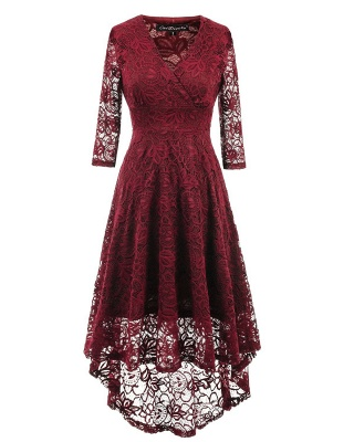 A| Chicloth Women 1950s Vintage Deep V Neck High-low Hem Lace Cocktail Party Dress_2