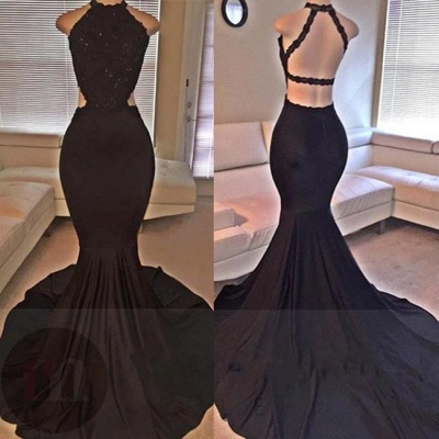 Chicloth Backless Mermaid Lace Sleeveless Black Long Prom Dresses ly149_2