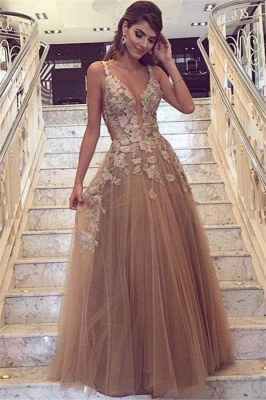 Chic Champagne Tulle Prom Dresses | Straps Lace Appliques Evening Gowns_2
