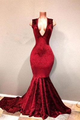Chicloth Sexy Burgundy Mermaid Prom Dresses | V-Neck Long Print Evening Gowns_1