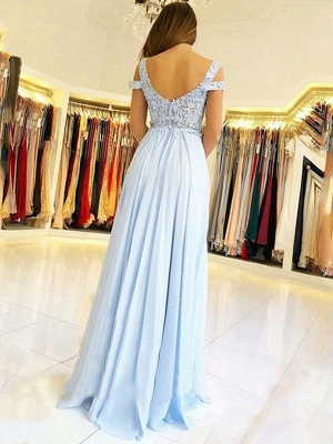 Chicloth A-Line Sleeveless Off-The-Shoulder Floor-Length With Applique Chiffon Dresses_2
