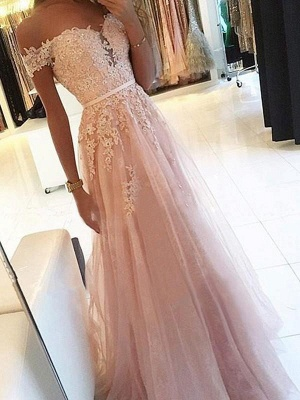 Chicloth A-Line Off-The-Shoulder Sleeveless Floor-Length With Applique Tulle Dresses_1