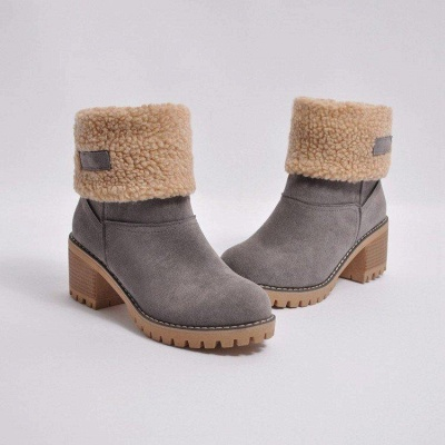 A  Chicloth Women's Winter Short Boots Round Toe Snow Boots_5