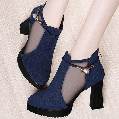 Daily Chunky Heel Buckle Pointed Toe Elegant Boots_3