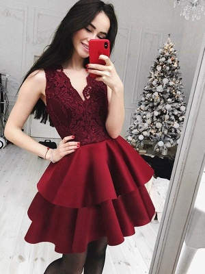 Chicloth A-Line Lace V-Neck Sleeveless Satin Short/Mini Dresses_1