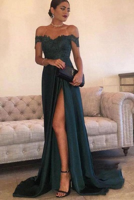 A| Chicloth THERESA | A-line Floor Length Split Off-the-Shoulder Lace Prom Dresses_1