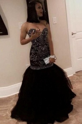 Chicloth Brilliant Sweetheart Beading Black Mermaid Prom Dresses_4