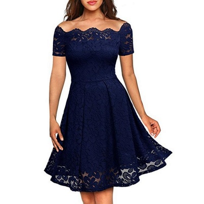 A| Chicloth 2018 Solid Lace Peasant Off the Shoulder A-line Dress_3