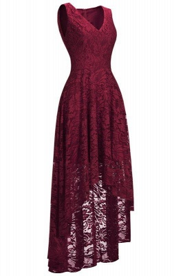 Chicloth A-line Hi-lo V-neck Sleeveless Burgundy Lace Dresses_2