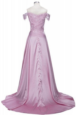 A| Chicloth THERESA | A-line Floor Length Split Off-the-Shoulder Lace Prom Dresses_3