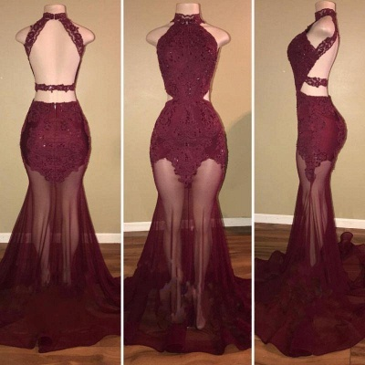 A| Chicloth Burgundy Sheer-Tulle Lace-Appliques High-Neck Mermaid Prom Dresses_2