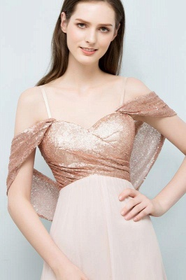 Chicloth A-line Chiffon Sequins Straps Sweetheart Sleeveless Floor-Length Bridesmaid Dresses_5
