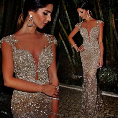 Chicloth Sexy Sheath Evening Dresses 2019 Sparkly Beaded Lace Appliques Evening Prom Dress For Summer_2