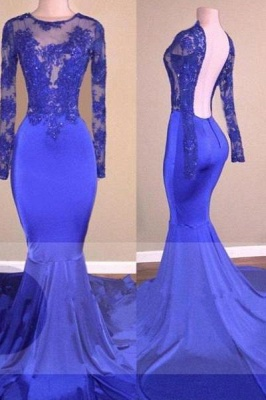 A| Chicloth Sexy Backless Royal-Blue Long-Sleeves Beaded Mermaid Prom Dresses_1