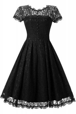Lace Black Button Chic Elegant Vintage Dresses_2
