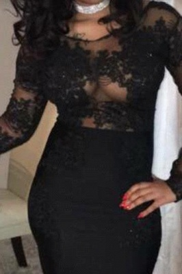 B| Chicloth Black Mermaid Prom Dresses | Sheer Long Sleeves Evening Gowns_2