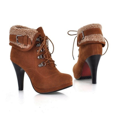 B| Chicloth Women High Heel Half Short Ankle Boots_3