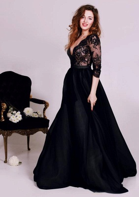 Chicloth Black Deep V-Neck Lace Formal Occasion Dress Gorgeous A-Line 3/4 Long Sleeve Evening Gown JT127_2