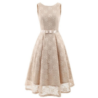A| Chicloth Pink Sleeveless Round Neck Lace Dress_4