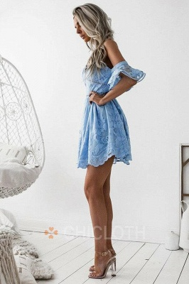 A-Line Spaghetti Straps Short Sky Blue Lace Homecoming Dress with Ruffles_2