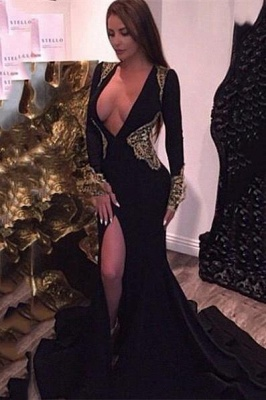 Chicloth Deep V-neck Sexy Black Evening Dresses Gold Lace 2019 Party Dresses with Slit CE086_1