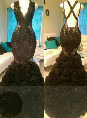 A| Chicloth Glamorous Black Mermaid V-Neck Tulle Appliques Open-Back Prom Dress_2