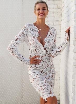 A| Chicloth Fashion V Neck Long Sleeve Lace Bodycon Midi Dress_6