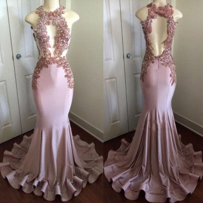 Chicloth Shiny Pink Mermaid Prom Dresses | Appliques Open Back Evening Gowns_3