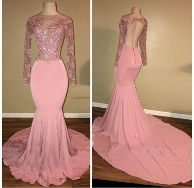 Chicloth Pink Long-Sleeves Backless Beaded Mermaid Shiny Prom Dresses_3