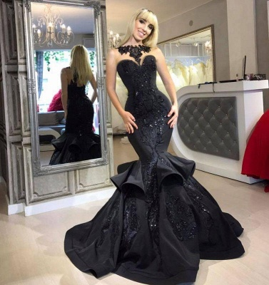 A| Chicloth Black Mermaid Beads Prom Dresses | Appliques 2019 Sexy Evening Dresses Cheap FB0267_3
