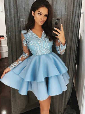 Chicloth A-Line Satin V-Neck Long Sleeves With Applique Short/Mini Dresses_1