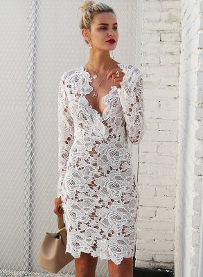 A| Chicloth Fashion V Neck Long Sleeve Lace Bodycon Midi Dress_4