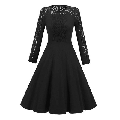 A| Chicloth Navy Blue Long Sleeve Round Neck Lace Dress_2