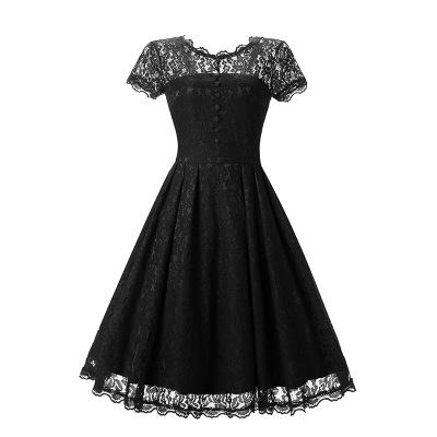 A| Chicloth Women Floral Lace Short Sleeve Vintage Lady Party Swing Bridesmaid Dress_2