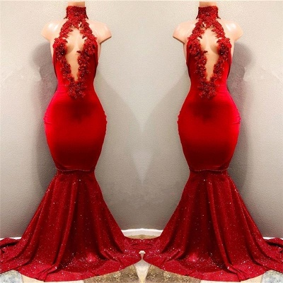 Chicloth Shiny Red Mermaid Prom Dresses High Keyhole Neckline Evening Gowns_3