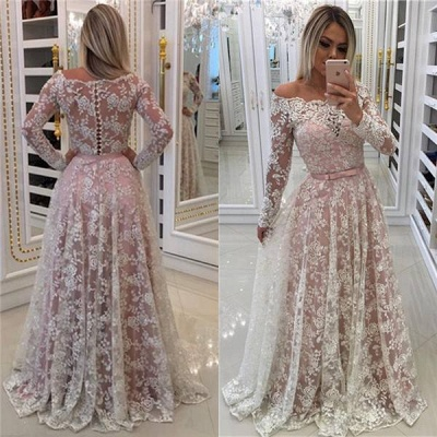 Chicloth A-line Off-shoulder Long Sleeves Floor-length Appliques Sash Prom Dresses_3