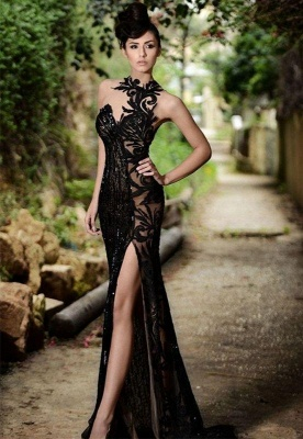 Chicloth Sexy Black Prom Dress| 2019 Mermaid Evening Dress With Slit_3