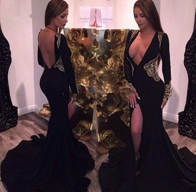 Chicloth Deep V-neck Sexy Black Evening Dresses Gold Lace 2019 Party Dresses with Slit CE086_3