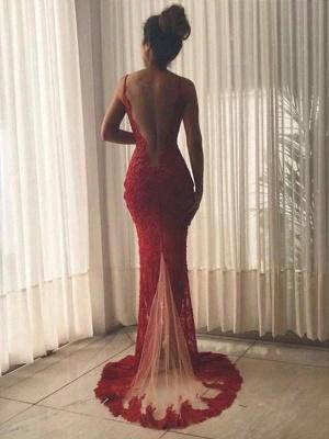 Chicloth Mermaid Sleeveless V-Neck Sweep/Brush Train Lace Tulle Dresses_2
