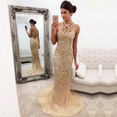Chicloth Gorgeous Crystals Mermaid Sleeveless Halter Zipper-Back Prom Dress_2