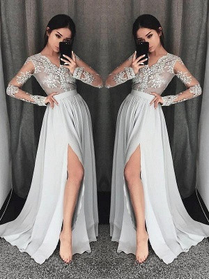 Chicloth A-Line V-Neck Long Sleeves Sweep/Brush Train With Lace Chiffon Prom Dresses_1