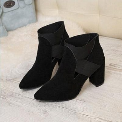 B| Chicloth Autumn Women Pointed Flock Boots_5