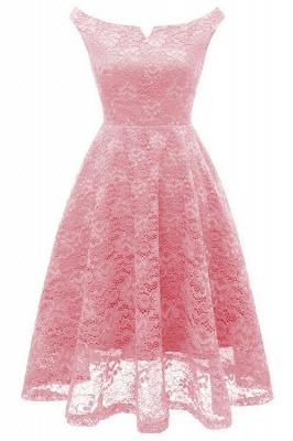 A| Chicloth Pink Sleeveless A-Line Lace Dress_1